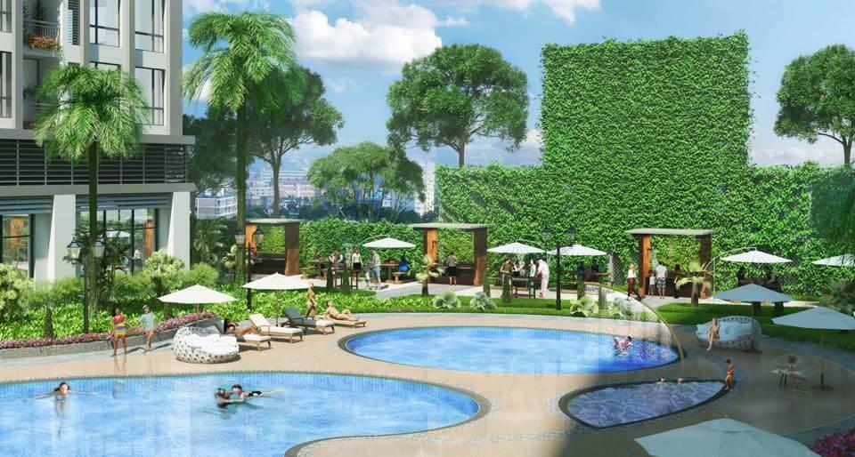 Phối cảnh 3D vườn nướng BBQ cạnh bể bơi ngoài trời (nguồn: Facebook)